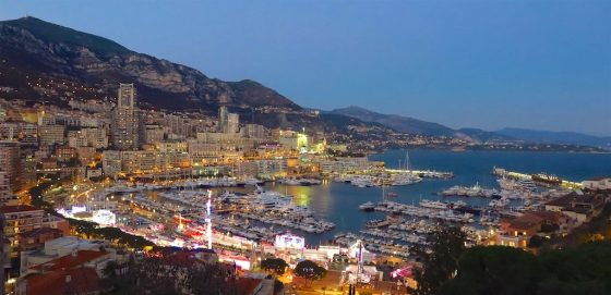 Monte-Carlo, Monaco's port at night. Copyright Amy Laughinghouse