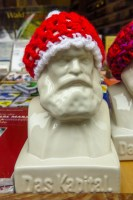 Ile de Re bookshop, located across from the birthplace of Karl Marx on Bruckenstrasse, sells Marx statues and autobiographies. Copyright Amy Laughinghouse.