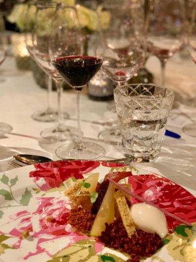 Poached pears in wine, served with Vina Pomal Alto de la Caseta