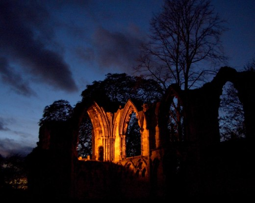 The ruins of St. Mary's Abbey in York are said to be haunted by the ghost of an abbott.