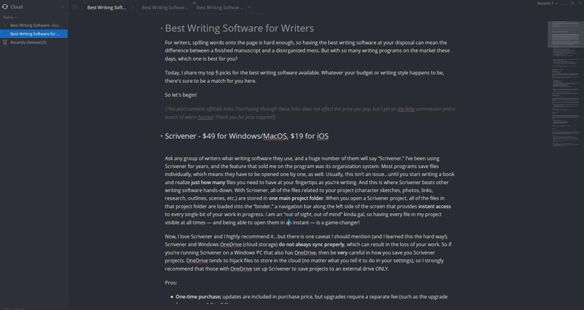 screenshot of Write! app novel writing software