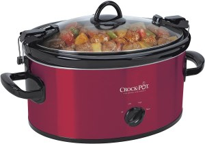 Photo of red Crock Pot with Amazon affiliate link