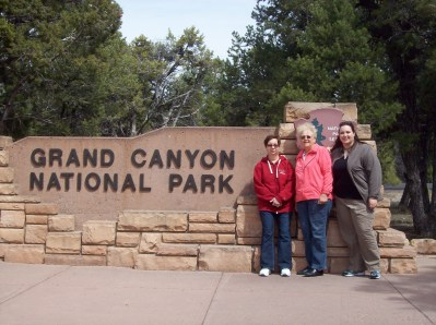 My mother, her friend Lou, and me at the entrance to the park.