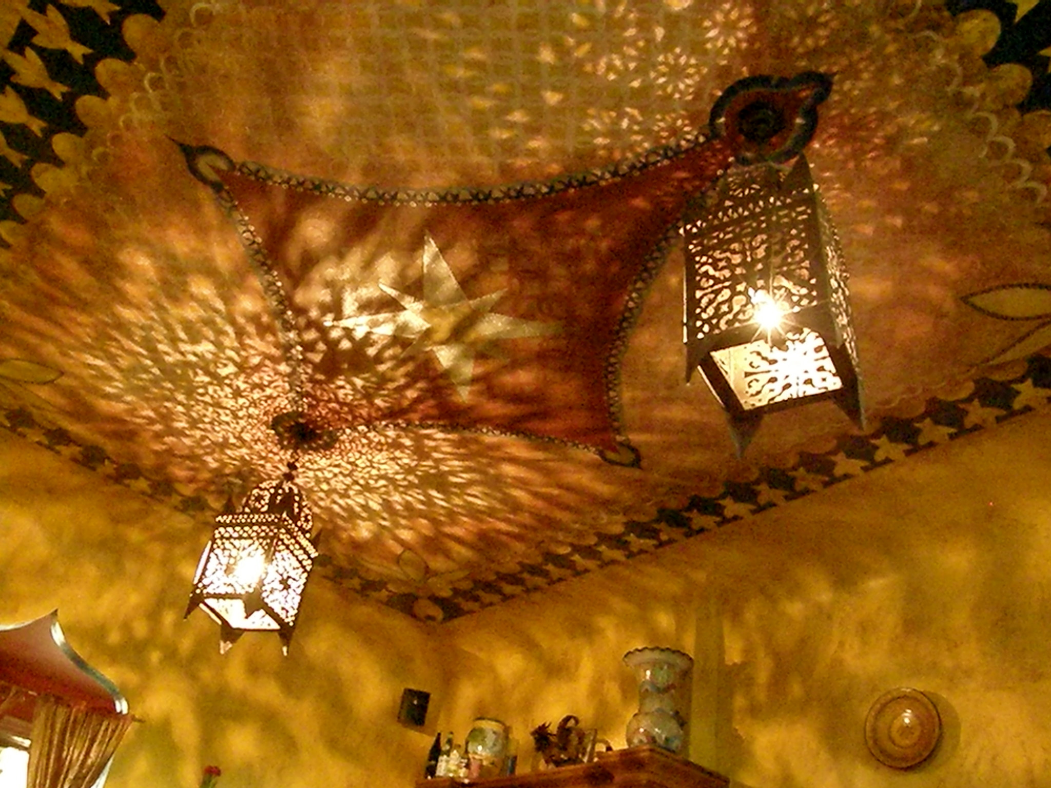 ceiling mural and lanterns
