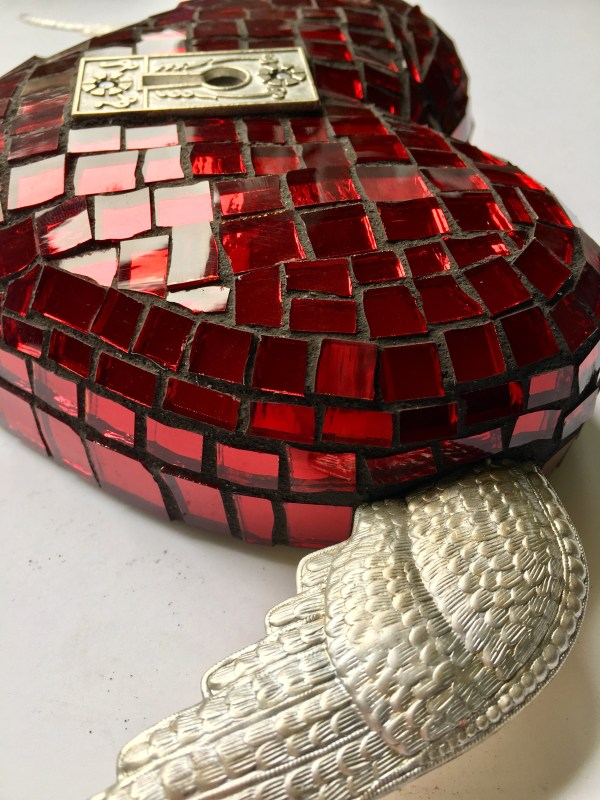 Red Mosaic Heart With Silver Keyhole Amy Lou Fancher