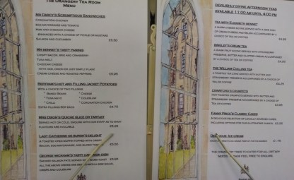 The Austenified menu in the tea room.