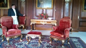David showing us the red velvet chairs in the drawing room. These chairs were dyed with carmine, made from beetles native to Mexico, and would leave pink dye on the dresses of fashionable ladies. Yet another reason I love living in the bluejeans era.