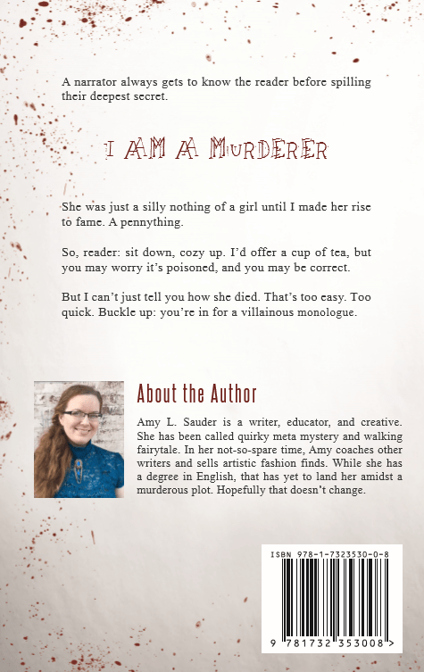 I Know You Like a Murder back cover copy - blood spatter book cover crime story