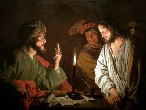 "The painting ""Christ before Caiaphas"" by the Dutch artist Matthias Stom"