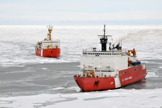 Icebreakers on the Arctic Ocean photographed by U.S. Coast Guard Petty Officer 3rd Class Patrick Kelley