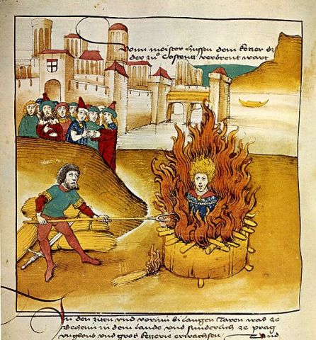 1485, Diebold Schilling the Older, Spiezer Chronicle, Burning of Jan Hus