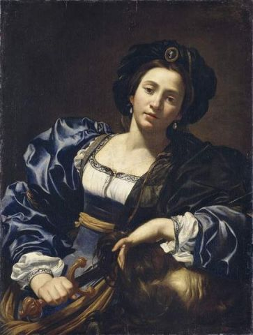 In this 17th century painting, Judith is depicted with the head of Holofernes. The work is by Simon Vouet or one of his followers.