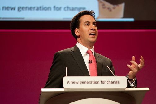 The current leader of the British Labour Party, Ed Miliband, at the September 2010 Labour Party conference.  Photo by Wikipedia user EdMiliband