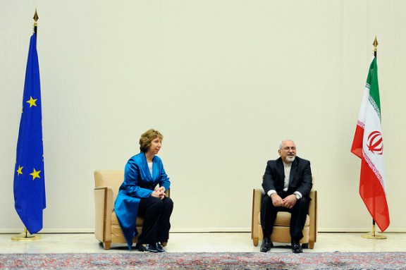 EU foreign policy chief Catherine Ashton and Iranian Foreign Minister Javad Zarif in Geneva on October 15.  Flickr photo by European External Action Service.