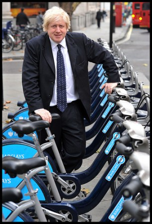 London mayor Boris Johnson poses with bicycles, one of his favorite things on earth. Flickr photo by Andrew Parsons for BackBoris2012