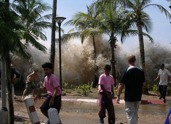 The 2004 Asian tsunami comes on shore in Ao Nang, Thailand. Photo by Wikipedia user David Rydevik