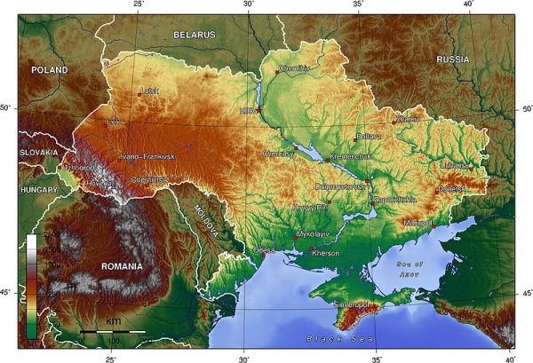 This relief map of Ukraine can be found on Wikipedia and was produced by an anonymous user based on public domain data sets.