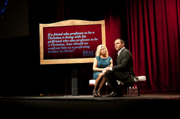 "Mark Driscoll and his wife Grace are seen during the filming of a video for their book ""Real Marriage"". Flickr photo by Mars Hill Church Seattle"