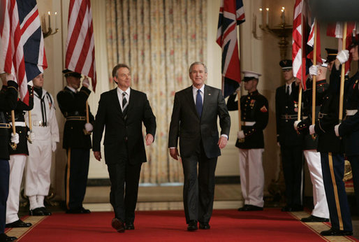 British Prime Minister Tony Blair (left) and U.S. President George W. Bush at the White House in July 2006. White House photo by Paul Morse