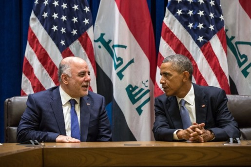 President Obama with PM Haider al-Abadi of Iraq at bilateral meeting at UN, Sept 24, Pete Souza