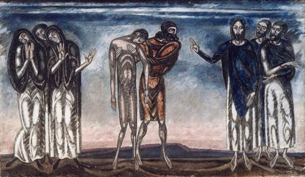 """Resuscitation of Lazarus"" by János Vaszary, circa 1912. Wikipedia photo by the Hungarian National Gallery"