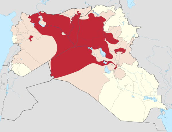 Territory controlled by ISIS as of this week (dark red), as well as the area they claim (light red). Wikipedia image by Spesh531