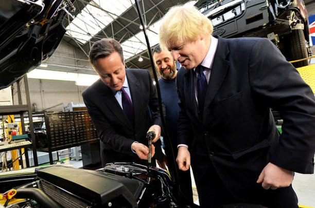 Prime Minister David Cameron (left) and London mayor Boris Johnson examining a cab under construction.  Classmates at Eton and Oxford, the dynamic between the two Conservative politicians is endlessly analyzed. Flickr photo by Number 10, Crown copyright