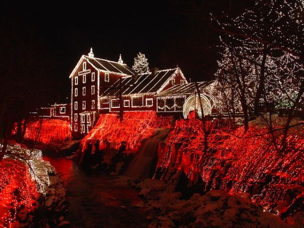 Christmas lights at Clifton Mill in Clifton, Ohio in 2005. Photograph by Matt Kozlowski