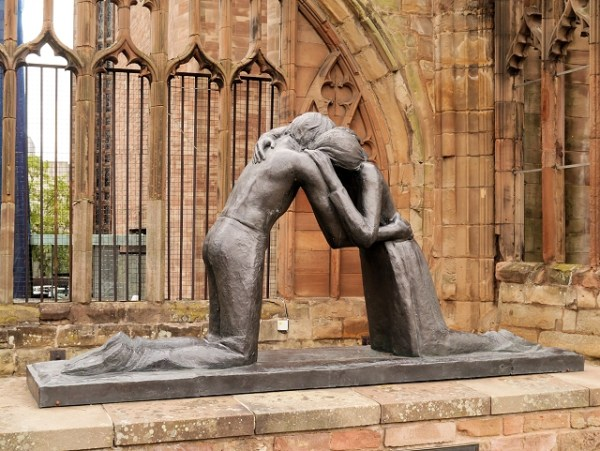 "Photo by David Dixon of the ""Reconciliation"" statue outside Old Coventry Cathedral in England. The sculpture is by Josephina da Vasconcellos."