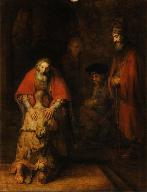 """""""The Return of the Prodigal Son"""" by Rembrandt van , circa 1668"""