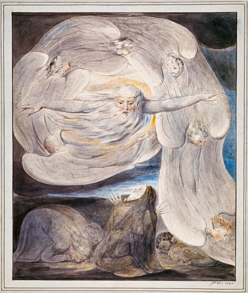 """Job Confessing His Presumption to God Who Answers from the Whirlwind"" by William Blake, circa 1803-05"