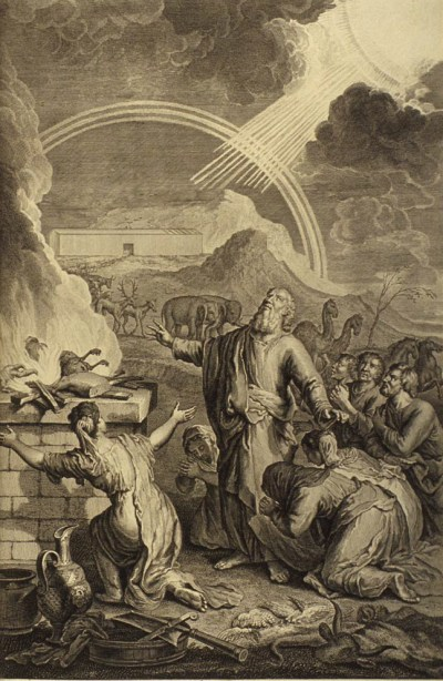 Illustration of Noah offering a burnt offering by Gerard Hoet, circa 1728.