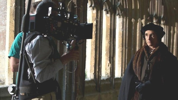 "Mary Rylance as Thomas Cromwell during shooting of ""Wolf Hall"". Flickr photo by Paul Townsend."