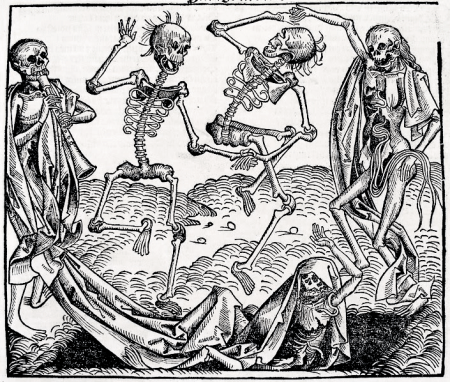 "The Danse Macabre (""Dance of Death"") illustrated by Michael Wolgmut, circa 1493"