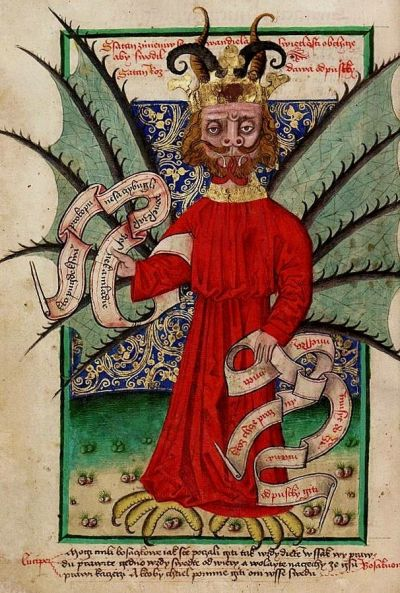 An picture from the Jensky Kodex depicting the devil selling indulgences, circa ~1500. This was produced in the homeland of Hus, who had criticized indulgences before Luther.