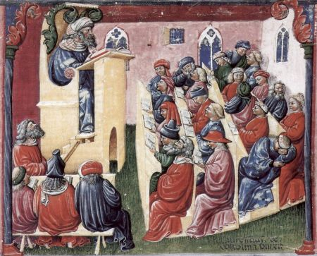 Scholars in a medieval school, as drawn by Laurentius de Voltolina in the latter 14th century.