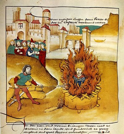 The burning of Jan Hus as depicted in the Spiezer Chronicle, circa 1485