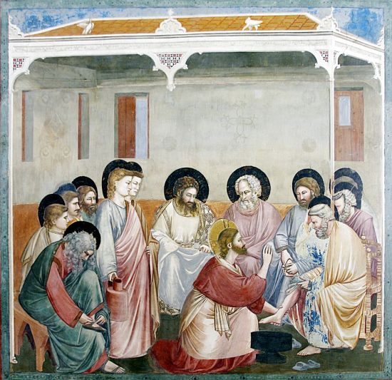 Depiction of Christ washing Peter's feet at the Last Supper by Giotto di Bondone, circa 1304-1306. Photo by Jose Luiz.
