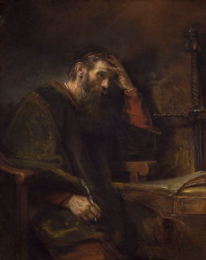 The Apostle Paul as envisioned by Rembrandt van Rijn and his workshop, circa 1657. Perhaps he was writing to the Corinthians?