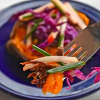 Barbecue Brisket Sweet Potatoes with Apple Chive Slaw