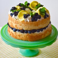 Heavenly Angel Food Cake With Lemon Cream and Fresh Berries