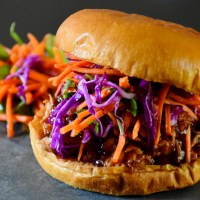 Pulled Chicken Sandwich with Southwestern Carrot Slaw