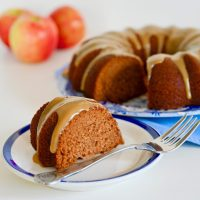 Gingered Applesauce Cake with Caramel Glaze