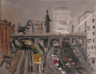 Acrylic sketch for From the Peters St Viaduct, 2000. Acrylic on canvas board