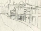 Forsyth Street, Atlanta, Pencil on paper, 1994.