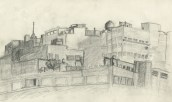 Building complex in downtown Atlanta, Pencil on paper, 1993,