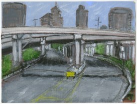 Vine Street, Facing East sketch, 2015. Acrylic sketch on Canvex paper, 2016.