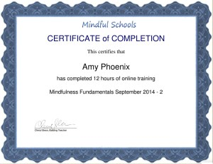 Mindfulness Fundamentals Certificate of Completion