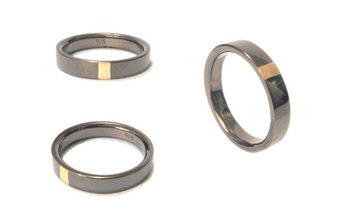 Dan's engagement ring, 2012, 18ct yellow gold, black rhodium plated 925 silver