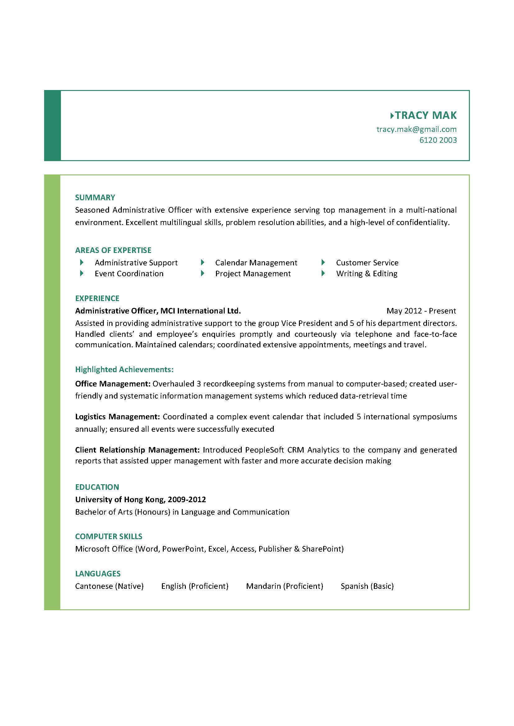 Administrative Officer Resume Template Business Template